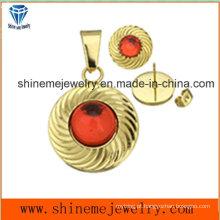 Conjuntos de jóias de moda Galvanização de ouro Jóias Stud Stud com pingente (ERS6997)
