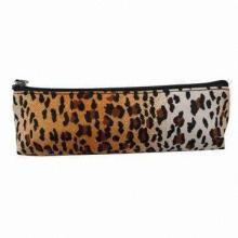 Leopard print microfiber fabric cosmetic bag