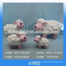 Estatua de ovejas de cerámica de alta calidad para la decoración