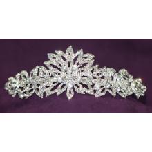 Nueva tiara de encargo de la boda de la corona nupcial cristalina brillante del descuento del diseño