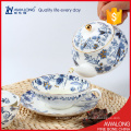 Conjunto de chá de moda requintado flor de cor branca e azul decalcado usado fina porcelana de osso
