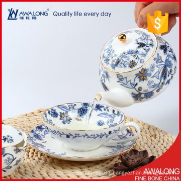 exquisite fashion tea set white and blue color flower decaled used fine bone china