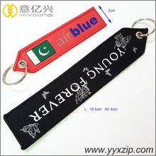 Promotional design keychain embroidered logo tag keyring