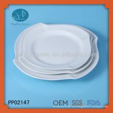 Placa de la onda cuadrada de la porcelana blanca 3pcs, vajilla cerámica