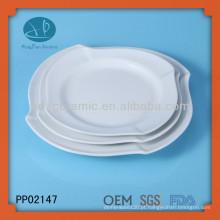 3pcs placa de onda quadrada de porcelana branca, louça de cerâmica