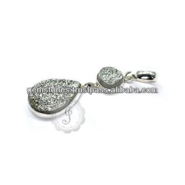 Colgantes de plata esterlina de la piedra preciosa de Druzy, nuevos colgantes de la piedra preciosa del diseño del bisel, venta al por mayor del surtidor de la joyería de la piedra preciosa