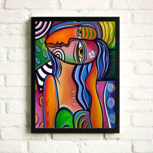 Abstract Portrait Photo Painting Poster with Photo Frame