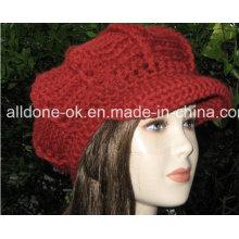 Hand Crochet Hat Padrão Slouchy Womens Newsgirl Newsboy Hat Cap