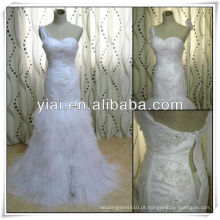 JJ2797 Elgant Tulle Split Front Mermaid Rulle Wedding Gown