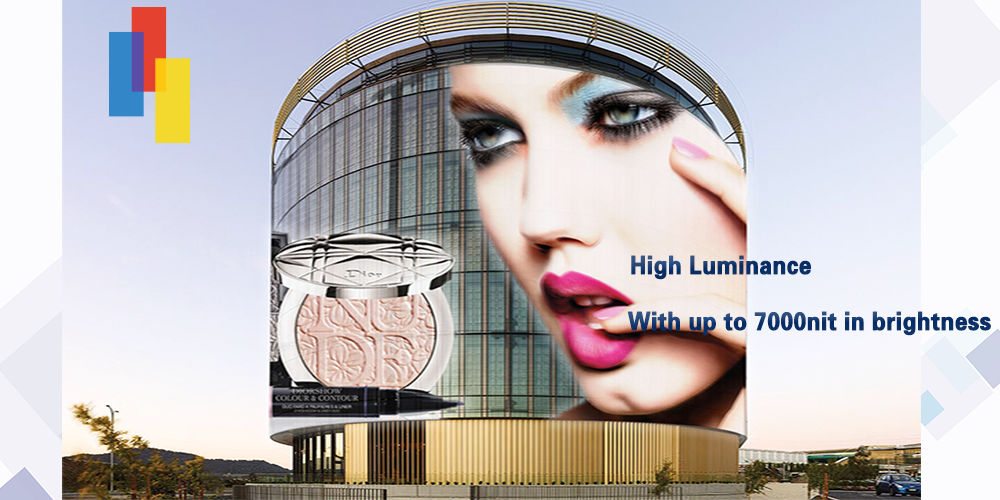 Outdoor led glass curtain display of Priva P10