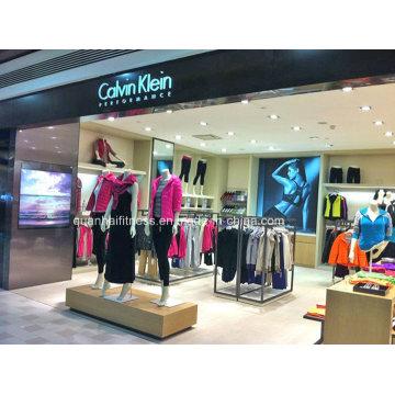 Carrinho de exposição de madeira/Metal varejo personalizado para loja de roupas