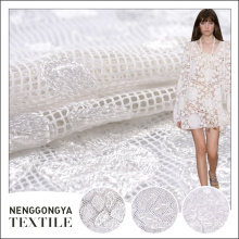 Custom high quality cheap mesh embroidered white fabrics for dresses