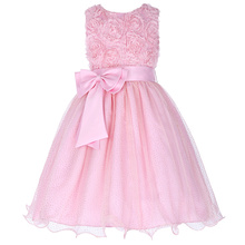 Grace Karin Girls 3D Flower Pink Wedding Bridesmaid Party Princess Dress CL008977-1