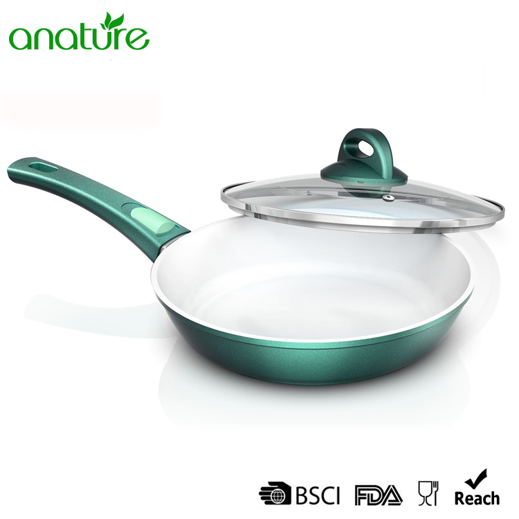 China White Ceramic Coated Removable Handle Green Fry Pan