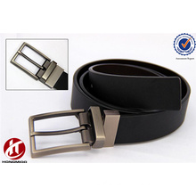 2016 Blackl/White New Fashion Alloy Reversible Pin Buckle Genuine Leather Belt for Men