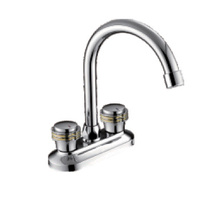 Deck mounted double handle basin mixer with panel