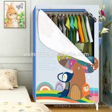 Спальня простой портативный ткань шкаф с металлическим каркасом