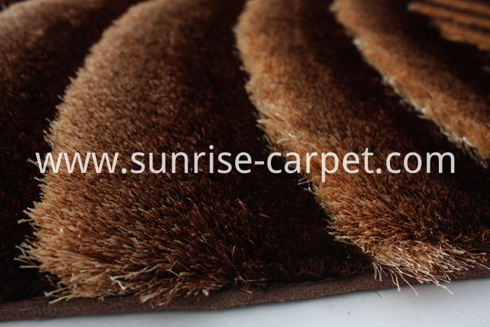 Polyester Shaggy Rug 3D design Brown & Beige Coilor