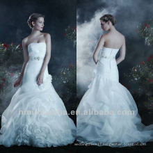 Fantasy A Line Strapless Zipper Sequin Sash Ruffle Floor Length Wedding Dress Bridal Gown