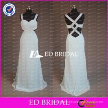 2017 ED Bridal New Arrival Beaded Spaghetti Strap Criss-cross Back Sky Blue Chiffon Long Prom Dresses