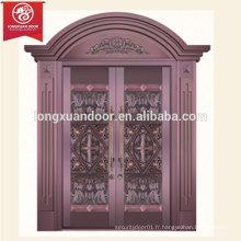 Porte de bronze à usage professionnel ou résidentiel, porte en cuivre double feuille