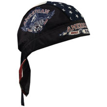 Custom Made Logo Printed Cotton Black Sports Biker Cap Bandana Headwrap