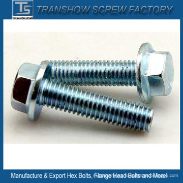 Tornillo hexagonal de acero galvanizado M10X35 con brida