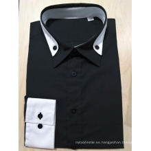 Camisa de manga larga en color negro para hombres 100% algodón.