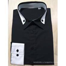100% хлопок мужская черная рубашка с длинным рукавом