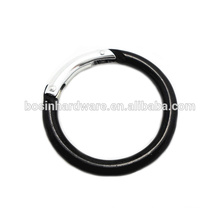 Moda alta qualidade metal alumínio preto redondo mosquetão