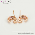 23229 xuping beauty rose gold color star and moon synthetic zircon ladies stud earrings
