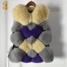 Moda Camisolas de pele de raposa real Casual Gotas soltas Gilets Size Custom Fur Gilet