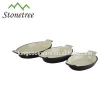 Alta qualidade oval esmalte revestimento de ferro fundido gratinar pan / panela de sopa / prato
