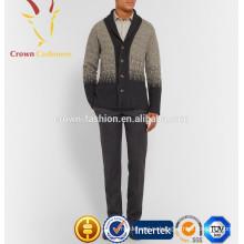 Мужской кашемир длинный рукав кардиган свитер с пуговицами на V-образным вырезом