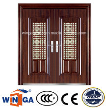 Ventana de gran tamaño Exterior impermeable puerta de metal de acero de seguridad (W-SD-04)