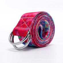 Yugland  Patterned elastic yoga stretch carrying strap organic with loops and rings for yoga, cotton custom yoga mat strap