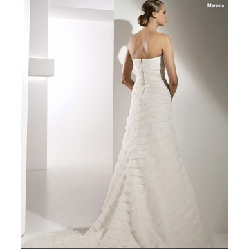 Elegant Trumpet Mermaid Sweetheart Cathedral Melatih Organza Bowknot Tiered Wedding Dress