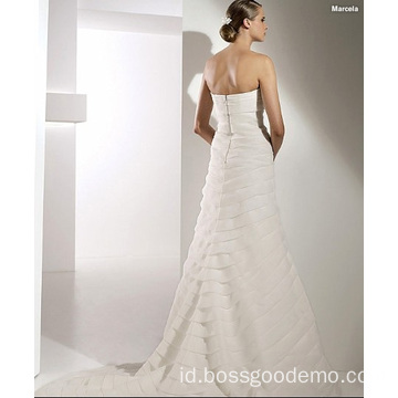 Elegan Trumpet Mermaid Sayang Katedral Kereta Organza Ikatan Simpul Wedding Dress
