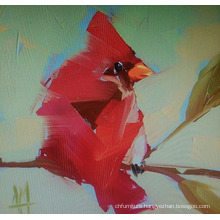 Red Abstract Bird Painting
