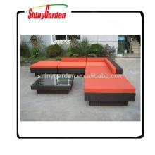 l forma de conjuntos de sofá de mimbre, sofá de ratán utilizado para la venta, sofá de mimbre muebles de mimbre al aire libre barato