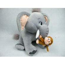 Interesting designed stuffed plush elephant and monkey