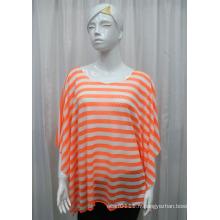 Chemise creuse de ressort tricoté par polyester de rayure de Madame de mode (YKY2201)