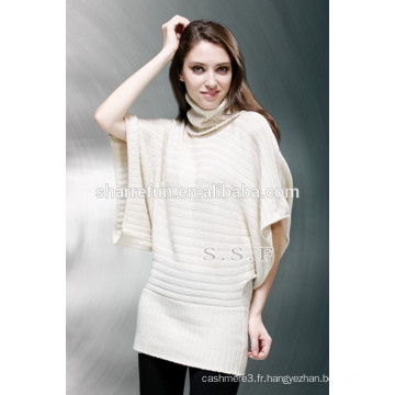 usine en gros 7gg tricot côtelé col roulé 100% robe en cachemire
