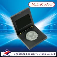 Monedas de plata antigua monedas de águila con caja de madera negro (lzy1300012)