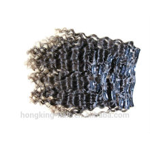 Cheap pelo brasileño paquetes rizado rizado clip en extensiones de cabello pelo brasileño
