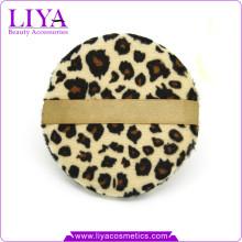 Mode beauté outils léopard houppette pour logo de poudre sèche accepté