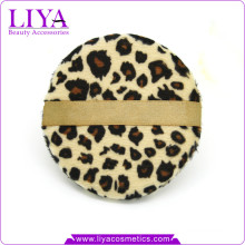 Fashion beauty tools leopard powder puff for dry powder logo accepted