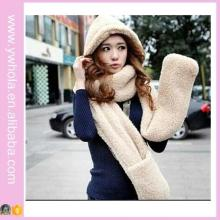 Новый шерстяной шарф из шерсти овечьего 3in1 с капюшоном и перчатками (66420)