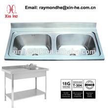 Küchenspüle für Gewerbe Sink Scullery Basin mit Spritzschutz, Portable Edelstahl Zwei 2 Kammer Waschbecken mit Untergestell