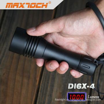 Maxtoch DI6X-4 aluminio negro impermeable LED antorcha linterna buceo